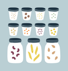 zero waste pantry kitchen jars vector image
