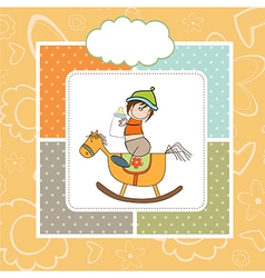 baby boy shower shower with wood horse toy vector image vector image