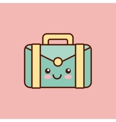 briefcase character kawaii style vector image vector image