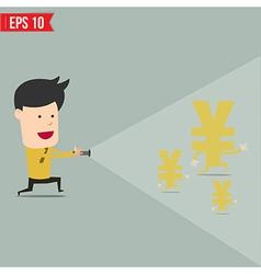 Businessman use flashlight find money vector image