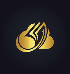 cloud data paper gold logo vector image vector image