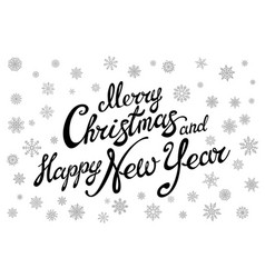merry christmas and happy new year typographical vector image