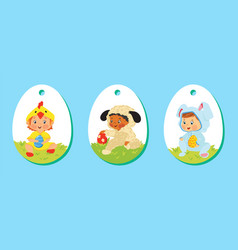 set of easter price tags gift labels for kids vector image