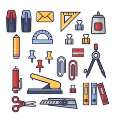 set of office accessories icons school vector image