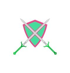 Sword shield icon vector