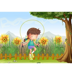 A girl playing jumping rope vector image vector image