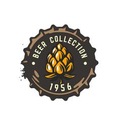 craft beer bottle cap with hop vector image