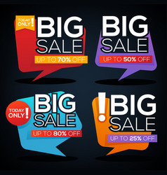 big sale speech bubbles discount banner and label vector image vector image