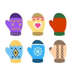 collection of color mittens with bright geometric vector image vector image