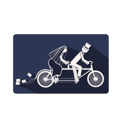 color silhouette frame with couple just married in vector image
