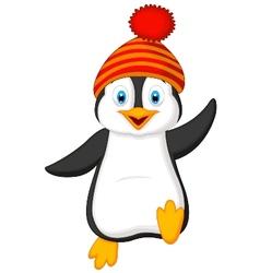 Cute penguin cartoon wearing red hat vector image