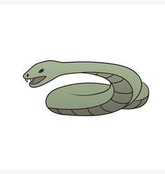 green cartoon snake vector image vector image