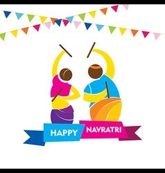 happy navratri festival garba dance poster design vector image