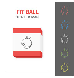 simple line stroked fitness ball icon vector image
