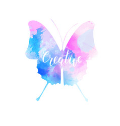 watercolored butterfly in blue and pink colors vector image
