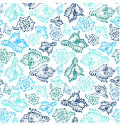 seamless sketch seashell template background vector image