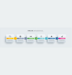 6 infographic timeline rectangle template vector