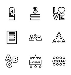 9 word icons vector image