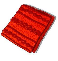 A fragment of patterned red knitted woolen vector