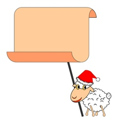 A funny Christmas sheep with a big blank paper vector image