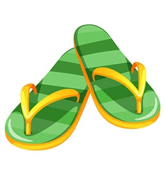 A pair of green slippers vector
