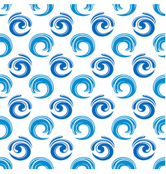 abstract blue waves seamless pattern design vector image
