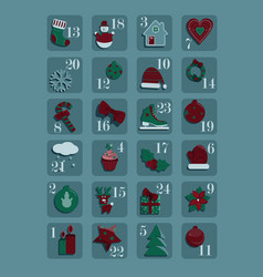 adventcalendar with twentyfour christmas asset vector image
