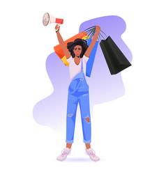 African american woman holding loudspeaker vector