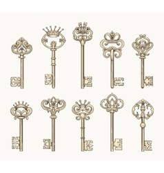 antique keys icon set vector image