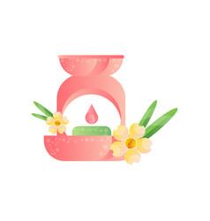 Aroma lamp and frangipani flower aromatherapy spa vector
