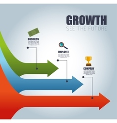 arrow infographic growth see the future vector image