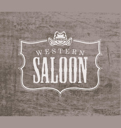 banner for western saloon with cowboy hat vector image