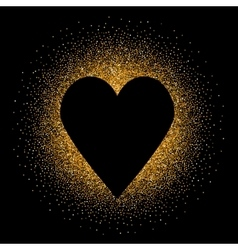 Black heart on the golden glittering background vector image