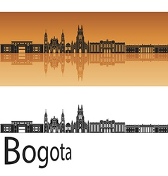 Bogota skyline in orange background vector
