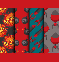 Bomb dynamite fuse seamless pattern vector