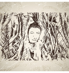 Buddha head in tree roots in Ayutthaya vector image