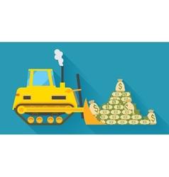 Bulldozer pilling money vector