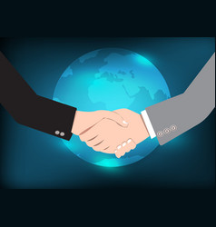 Business handshake eart background vector