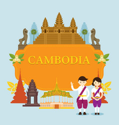 cambodia landmarks people in traditional vector image