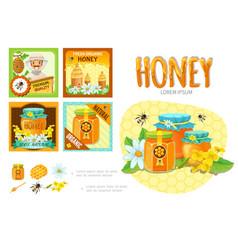 cartoon beekeeping infographic concept vector image