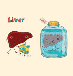 Cartoon character human liver vector