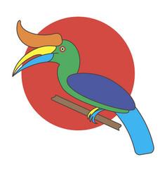 Cartoon hornbill bird vector