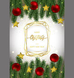 Christmas and new year card with gold geometric vector