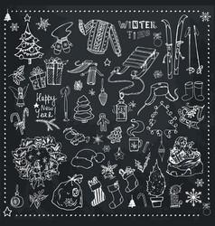christmas time hand drawn icons vector image