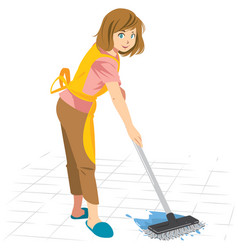 cleaning woman mop floor vector image