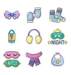 clothes accesories icon set cartoon style vector image