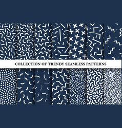 collection memphis seamless patterns vector image