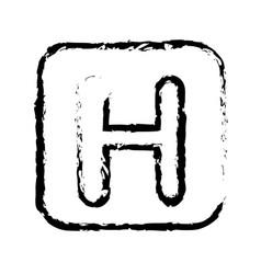 contour symbol letter h icon vector image