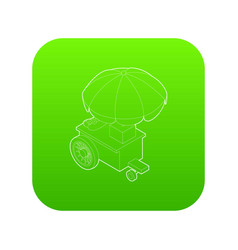 counter on wheels with umbrella icon green vector image