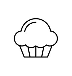 cupcake outline icon on white background muffin vector image